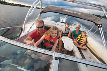 Family safely enjoying boating