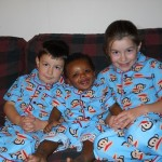 kids in monkey pajamas