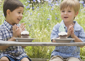 Two Boys and Birthday Cupcakes